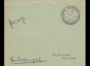 Postsache Kuvert 1938: Glogau: Niederschlesische Kultur- und Wirtschaftsschau