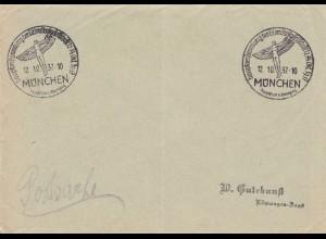 Postsache Kuvert 1937: München Hauptversammlung Lilienthalgesellschaft