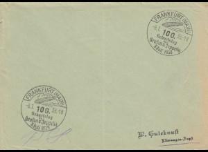 Postsache Kuvert 1938: Frankfurt/Main: Geburtstag des Grafen von Zeppelin