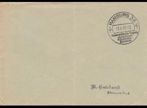 Postsache Kuvert 1938 Hamburg Kameradschaftstagung ehemaliger Eisenbahn Pioniere