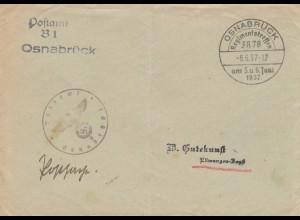 Postsache Osnabrück, Regimentstreffen 1937