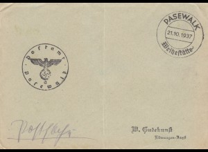 Postsache Kuvert 1937: Pasewalk Weihestätte