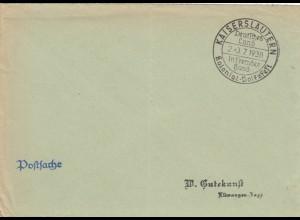 Postsache Kuvert 1938: Kaiserslautern Kolonial Volksfest: Deutsches Land in fremder Hand