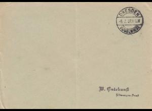 Blanko Kuvert 1937: Dresden Vogelwiese