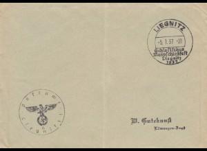Postsache Kuvert 1937: Liegnitz Schlesisches Mannschießfest