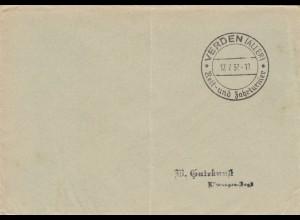 Postsache Kuvert 1937: Verden/Aller, Reit- und Fahrturniere