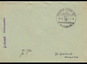Postsache Kuvert 1938: Berlin Spandau: Kolonialausstellung, Schiff im Sonderstempel