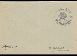 Postsache Kuvert 1937: Leipzig Gau-Arbeitstagung