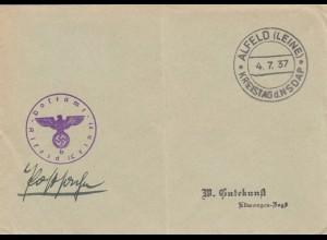 Postsache Kuvert 1937: Alfeld/Leine, Kreistag der NSDAP