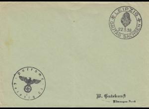 Postsache Kuvert 1938: Leipzig: Gautag Sachsen