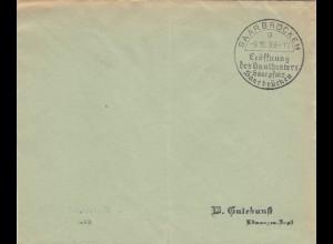 Postsache Kuvert 1938: Saarbrücken: Eröffnung Gautheater Saarpfalz