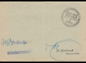 Postsache Kuvert 1937 Berlin Charlottenburg 5 Jahre Briefmarken-Tauschzirkel