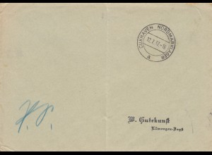 Postsache Kuvert 1937 Cuxhaven Nordmarklager - a