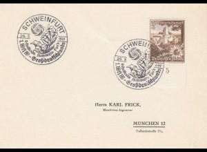 Postkarte Schweinfurt 1949: 1. WHW Sammlung