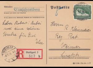 Einschreiben Postkarte Stuttgart nach Weimar, überfrankiert 1938