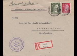 Einschreiben Reval, Handeslgesellschaft 1943 nach Schweinfurt