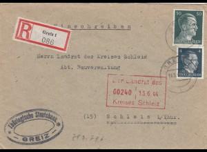 Einschreiben Greiz, Staatsbank nach Schleiz/Thüringen 1944