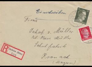 Einschreiben Ostheim/Rhön an Schuhfabrik 1944 in Kronach
