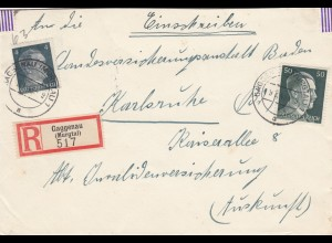 Einschreiben Gaggenau/Murgtal 1943 nach Karlsruhe