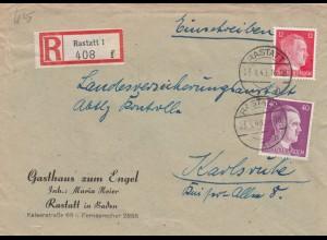 Einschreiben Rastatt 1943, Gasthaus zum Engel nach Karlsruhe