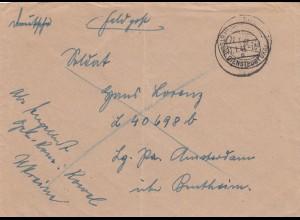 Feldpost Brief Deutsche Dienstpost Ukraine 1943 an L40698b, Amsterdam