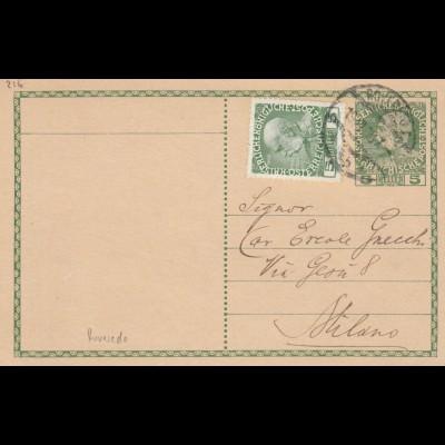 Postkarte 1910 Roverdo nach Milano