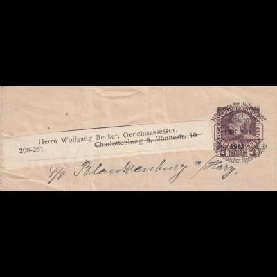 2x Streifband 1909/1913 Wien nach Berlin Charlottenburg, 1x Weiterleitung