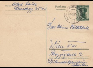 Postkarte 1957 Kichberg-Gaming nach Wien