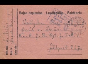 Feldkarte 1917 Zagreb an Feldpost 427
