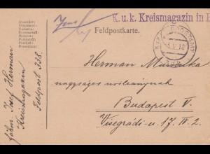 Feldpostkarte 1918 KuK Feldpostamt Kreismagazin FP 338 nach Budapest