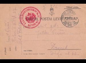 Tabori Postai Levelezolap FPNr. 68 nach Zagreb 1915