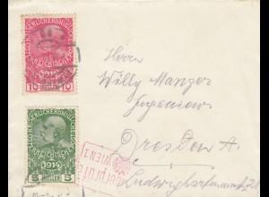 1915 Brief nach Dresden, überprüft in Wien