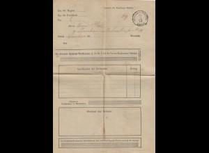 1873: Stempel: Übergabe in Glauchau, Frachtrechnung