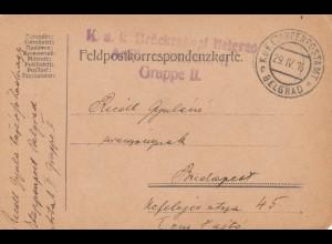 Feldpostkarte 1916, KuK Etappenpostamt Belgrad, Brückenkopf nach Budapest