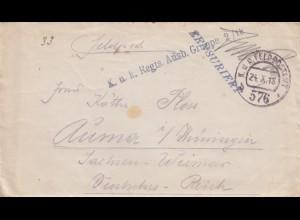 1918 Feldpostamt Ausbildungsgruppe, Zensiert nach Auma/Thüringen mit Briefinhalt