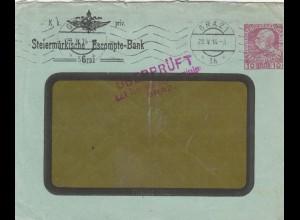 1916: Steiermärkische Bank Granz, überprüft, Zensur Graz