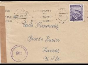 1947 / 1958 : Wien mit falscher Stempeleinstellung nach Kansas/USA mit Zensur