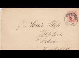 1881: Brief Rossbach/Böhmen nach Kösterle/Asch mit Briefinhalt