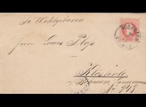 1881: Brief Possbach/Böhmen nach Kösterle/Asch/Böhmen mit Briefinhalt