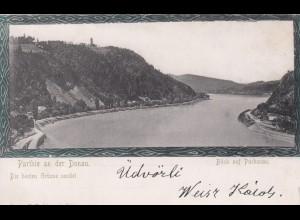 Ansichtskarte Blick auf Puchenau, 1890, von Linz nach Budapest