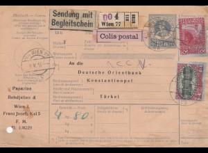 Paketkarte mit Begleitschein, Colis postal, von Wien nach Konstantinopel 1916