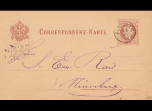 1878: Ganzsache von Puntigam nach Nürnberg