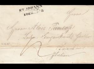 1845: St. Johann nach Triente/Italien mit Textinhalt