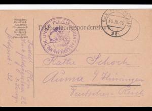 3x Feldpostkarte Gebirgsjäger, Feldjäger nach Auma 1916/17