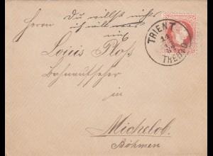 2x Brief 1882/83, Trient nach Michelob/Böhmen