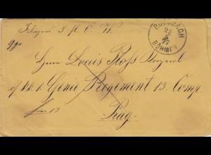 1877: Rossbach/Böhmen nach Prag mit Brief-Inhalt