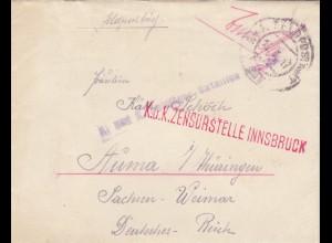 1917: Feldpostbrief Feldjäger Bataillon über Zensurstelle Innsbruck nach Auma