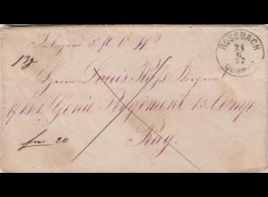 1877 Rossbach / Böhmen nach Prag mit Brief Einlage