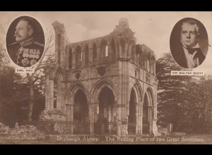 Ansichtskarte Dryburgh Abbey Restling place of two Scotsmen, Earl Haig, W. Scott