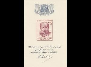 Cz: 2x Briefmarkenblöcke: 1950 gestempelt, 1954 postfrisch
